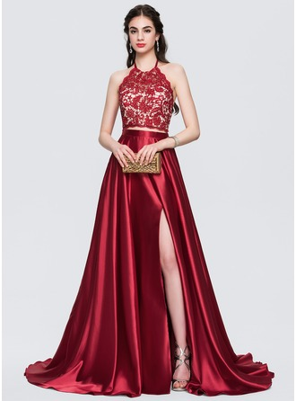 A-Line/Princess Halter Sweep Train Charmeuse Prom Dresses With Beading Split Front