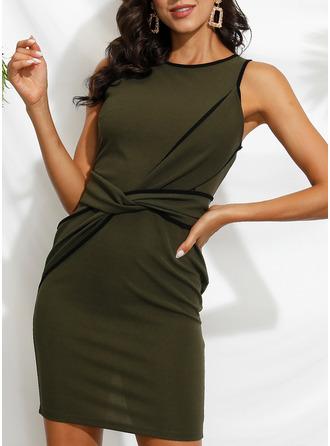 Solid Bodycon Sleeveless Midi Casual Pencil Dresses