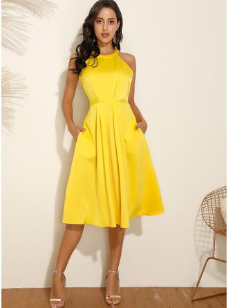 Midi Round Neck Polyester Solid Sleeveless Fashion Dresses