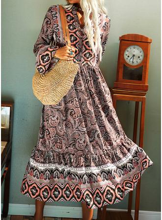Print Shift Long Sleeves Midi Boho Casual Tunic Dresses