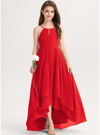 A-Line Scoop Neck Asymmetrical Chiffon Junior Bridesmaid Dress With Ruffle Bow(s)