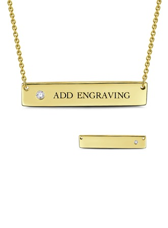 Custom 18k Gold Plated Silver Bar Necklace Engraved Necklace With Diamond