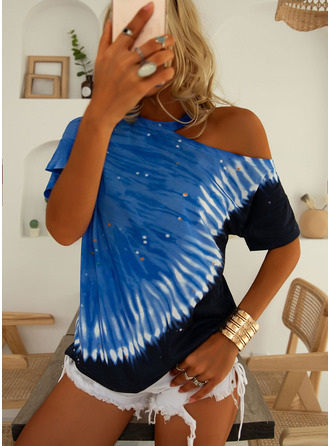 Tie Dye One Shoulder Short Sleeves Casual Blouses