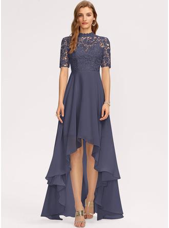 A-Line High Neck Asymmetrical Chiffon Bridesmaid Dress