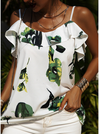 Floral Print Spaghetti Straps Short Sleeves Casual