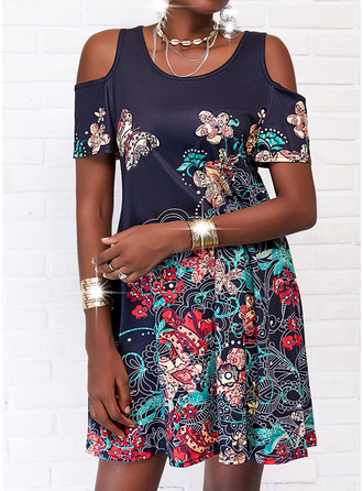 Animal Print Floral A-line Short Sleeves Mini Casual Vacation Skater Dresses