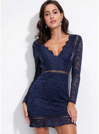 Above Knee V neck Polyester Lace/Solid Long Sleeves Fashion Dresses