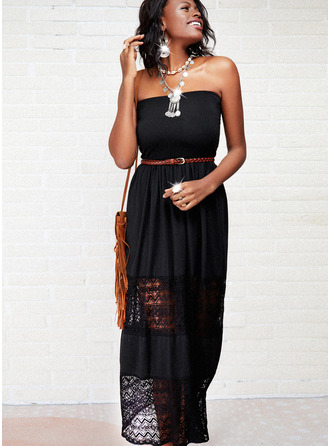 Lace Solid Backless A-line Sleeveless Maxi Little Black Casual Skater Dresses