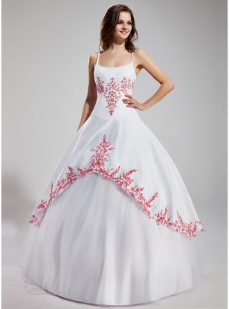 Ball-Gown Scoop Neck Floor-Length Tulle Quinceanera Dress With Embroidered Ruffle Beading