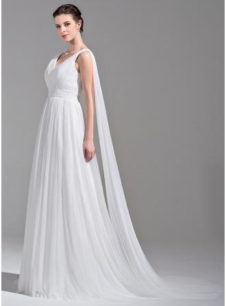 Трапеция/Принцесса V-образный Шлейф ватто Тюль Свадебные Платье с Рябь