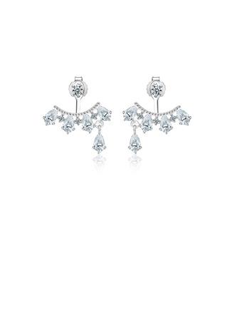 Senhoras Faíscas 925 prata esterlina/Zirconia cúbico com Rodada Zirconia cúbico Brincos Para Ela