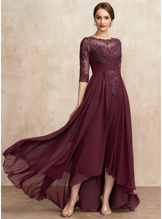 A-Line Scoop Neck Asymmetrical Chiffon Lace Mother of the Bride Dress With Ruffle Sequins
