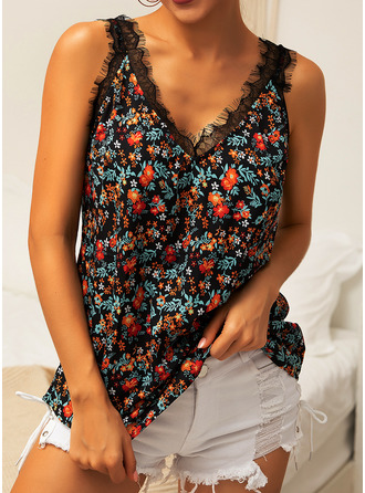 Print Floral Patchwork Lace Sleeveless Polyester V Neck Tank Tops Blouses