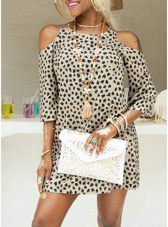Above Knee Round Neck Polyester Print 3/4 Sleeves/Cold Shoulder Sleeve Fashion Dresses