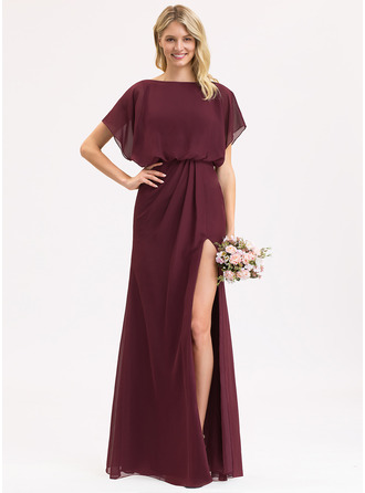 Sheath/Column Scoop Neck Floor-Length Chiffon Evening Dress With Ruffle Split Front