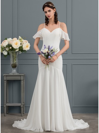 Trumpet/Mermaid Sweetheart Court Train Chiffon Wedding Dress
