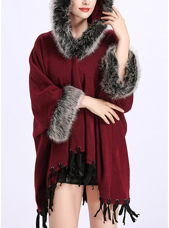 Retro/Vintage Cold weather Artificial Wool Poncho