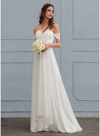 A-Line/Princess Off-the-Shoulder Sweep Train Chiffon Wedding Dress With Lace Beading Flower(s)