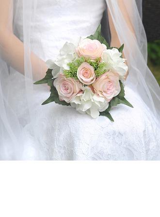 Clássico Redondo Cetim Buquês de noiva (Vendido em uma única peça) -