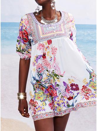 Blommig Print Shiftklänningar 3/4 ärmar Mini Fritids Semester Modeklänningar