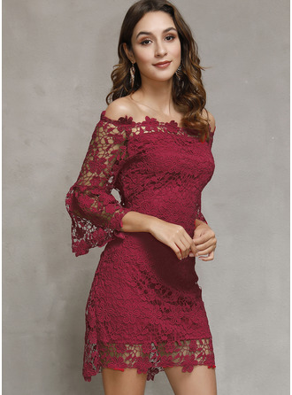 Sheath 3/4 Sleeves Midi Dresses
