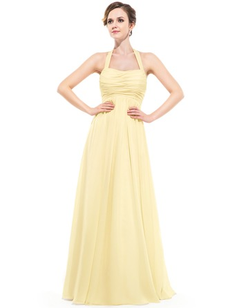 Empire Halter Floor-Length Chiffon Bridesmaid Dress With Ruffle
