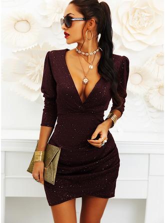 Solid Åtsittande 3/4 ärmar Puffärmar Mini Den lilla svarta Party Elegant Modeklänningar