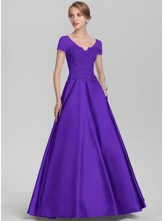 A-Linie/Princess-Linie V-Ausschnitt Bodenlang Satin Spitze Kleid für die Brautmutter mit Perlstickerei Pailletten