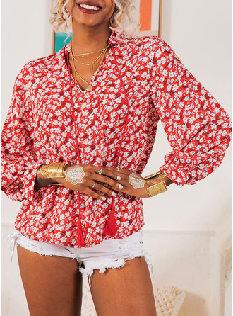 Print Floral Long Sleeves Polyester V Neck Halenky