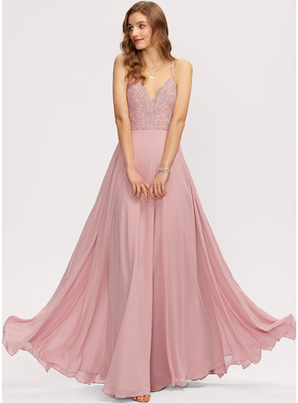 V-Neck Blush Chiffon Lace Dresses