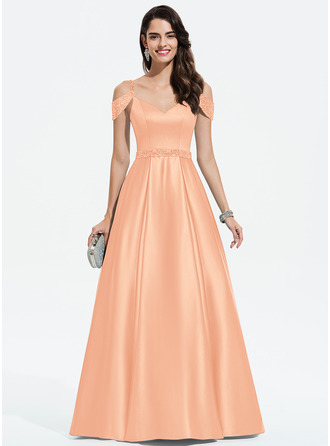 Ball-Gown/Princess V-neck Floor-Length Satin Prom Dresses With Beading Sequins