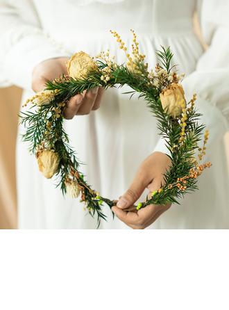 Tyttömäinen Pyöreä Kuivakukka päähine kukka (myydään yhtenä kappaleena) - päähine kukka