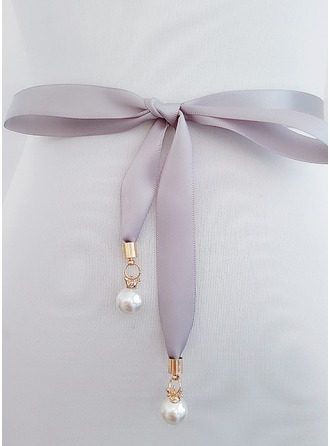 Elegant Satin Sash With Imitation Pearls