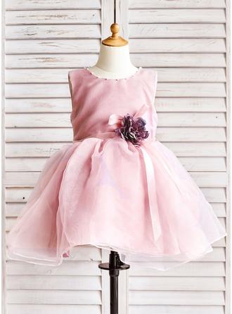 Forme Princesse Longueur genou Robes à Fleurs pour Filles - Organza Sans manches Col rond avec Brodé/Fleur(s)/À ruban(s)