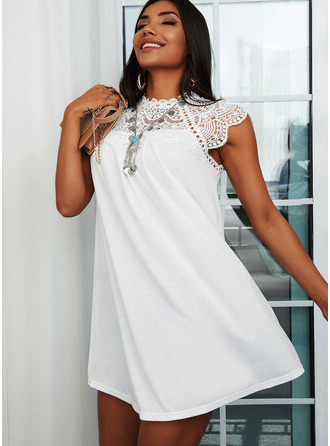 Lace Solid Shift Short Sleeves Mini Casual Tunic Dresses