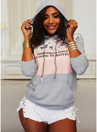 Color Block Floral Print Figure Long Sleeves Hoodie