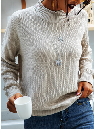 Turtleneck Casual Solid Chunky knit Ribbed Sweaters