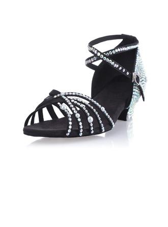 De mujer Satén Sandalias Salón Danza latina Sala de Baile Salsa con Perlas de imitación Rhinestone Tira de tobillo Hebilla Zapatos de danza