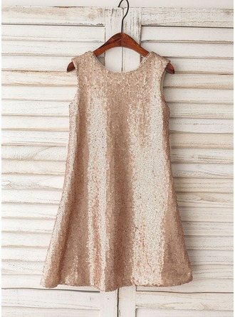 A-Line/Princess Knee-length Flower Girl Dress - Sequined Sleeveless Scoop Neck With Sequins