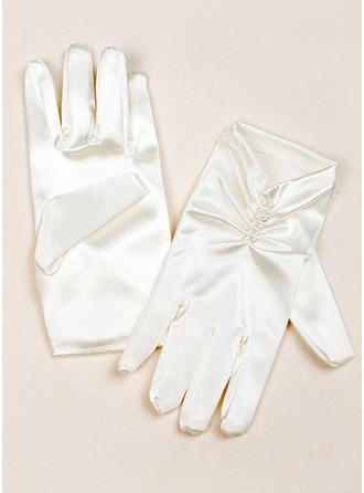 Elastic Satin Wrist Length Flower Girl Gloves
