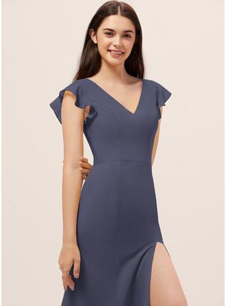 Sheath/Column V-neck Floor-Length Chiffon Bridesmaid Dress With Split Front
