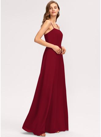 A-Line Square Neckline Floor-Length Chiffon Bridesmaid Dress With Split Front