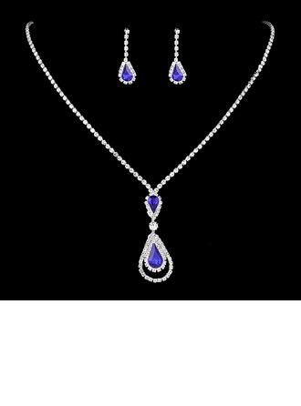 Senhoras Elegante Strass com Pêra Conjuntos de jóias