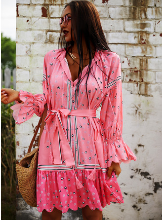 Print A-line 3/4 Sleeves Puff Sleeves Mini Casual Vacation Skater Dresses