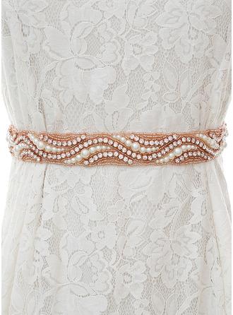Exquisite Satin Sash With Rhinestones/Imitation Pearls