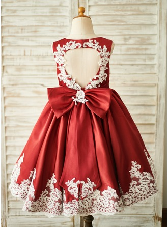 A-Line Knee-length Flower Girl Dress - Satin/Lace Sleeveless Scoop Neck