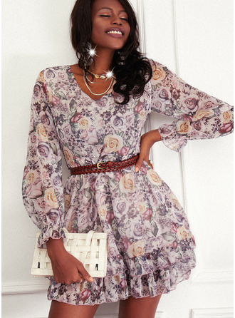 Floral Print A-line Long Sleeves Mini Casual Skater Dresses