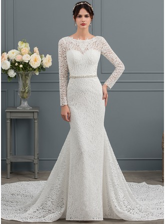 Trumpet/Mermaid Scoop Neck Cathedral Train Lace Wedding Dress With Beading Sequins