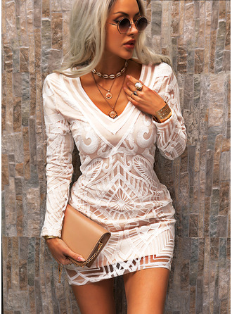 Lace Solid Bodycon Long Sleeves Mini Elegant Dresses