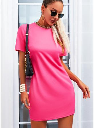 Solid Bodycon Korte ærmer Mini Den lille sorte Casual Mode kjoler